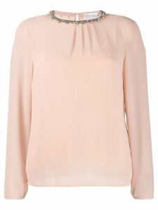Red Valentino crystal embellished neckline blouse - Neutrals