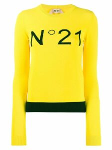 Nº21 logo embroidered jumper - Yellow