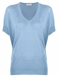 Peserico V neck knit top - Blue