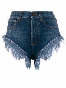 Saint Laurent fringed short denim shorts - Blue