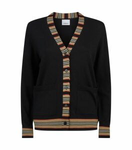 Wool Stripe Trim Cardigan