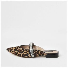 River Island Womens Brown leopard gem pointed backless loafers