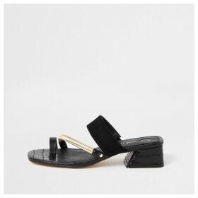 River Island Womens Black asymmetric toe ring sandals