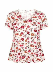 Ivory Floral Print Top, Ivory