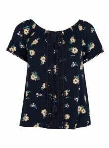 Navy Blue Floral Crochet Detail Gypsy Top, Navy