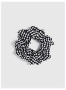 Black Gingham Scrunchie, Black