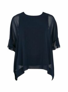 Navy Blue Frill Sleeve Overlay Top, Navy