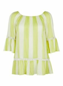Lime Green Stripe Gypsy Top, Ivory