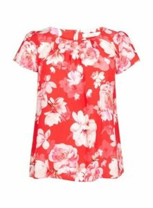 Coral Floral Print Shell Top, Pink