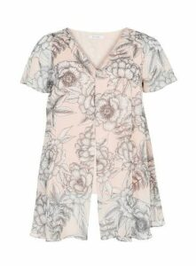 Blush Floral Print Spilt Front Top, Blush