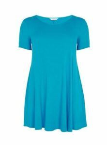 Turquoise Scoop Neck Swing Tunic, Turquoise