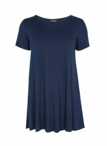 Navy Blue Scoop Neck Swing Tunic, Navy