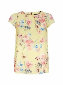 Yellow Floral Shell Top, Yellow