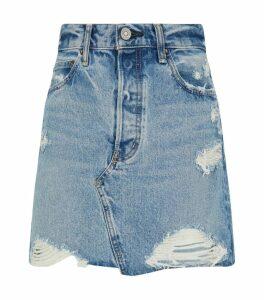 Markly Distressed Denim Skirt