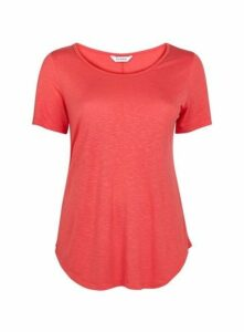 Coral Scoop Neck T-Shirt, Pink