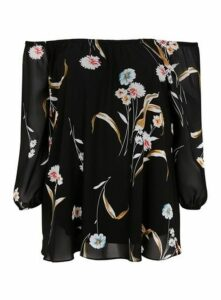Black Floral Print Bardot Top, Black