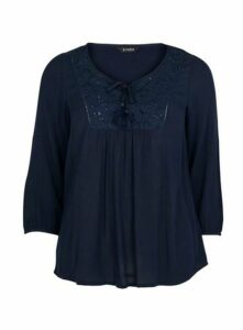 Navy Blue Embroidered Blouse, Navy