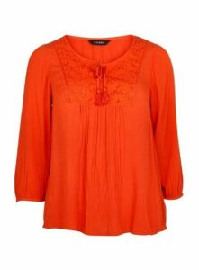 Orange Embroidered Blouse, Orange