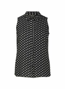 Black And White Spot Sleeveless Shirt, Others
