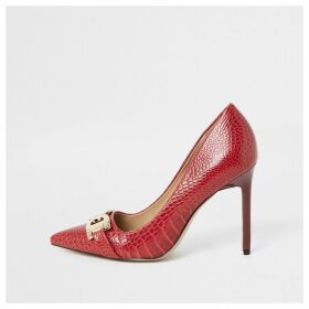 River Island Womens Red snaffle front court shoes