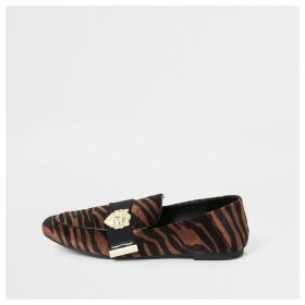 River Island Womens Brown tiger print wide fit tape loafers