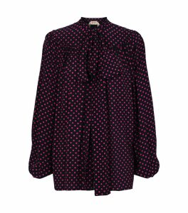 Polka Dot Tie Neck Blouse
