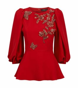 Butterfly Embellished Peplum Blouse
