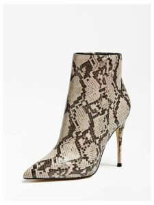 Guess Olanes Python-Print Ankle Boots