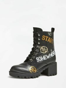 Guess Marvem Combat Boots With Slogan