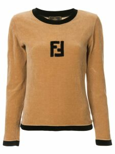 Fendi Pre-Owned velvet effect longsleeved top - Brown