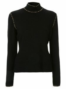 Fendi Pre-Owned intarsia logo detail stand-up neck jumper - Black