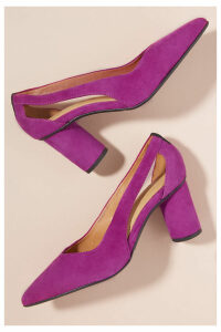 Selected Femme Cut-Out Suede Heels - Pink, Size 41