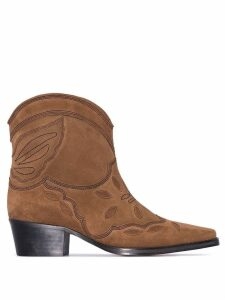 GANNI Brown Low Texas 40 suede ankle boots