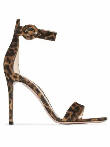 Gianvito Rossi Portofino 105mm leopard-print sandals - Brown