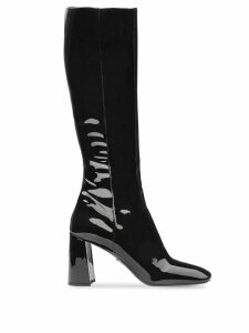 Prada fitted patent boots - Black