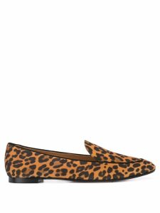 Aquazzura leopard print flat loafers - Brown