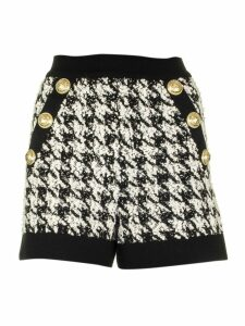 Balmain Black And White Houndstooth Pattern Tweed Shorts