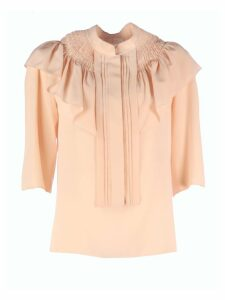 Chloé High Neck Cotton Shirt/rouches 3/4sleeves