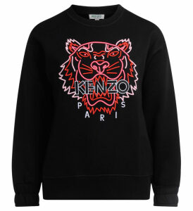 Kenzo Black Sweatshirt With Fluorescent Tiger
