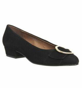 Office My Lady Block Mid Heels BLACK SUEDE BUCKLE