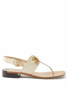 Three Graces London - Julienne Striped Cotton Blend Midi Dress - Womens - Cream Stripe