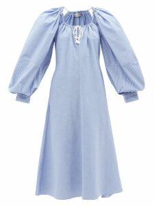 Gül Hürgel - Ruffled Polka Dot Dress - Womens - Blue Print