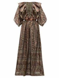 Zandra Rhodes - Ruffled Geometric-print Silk-blend Gown - Womens - Black Gold