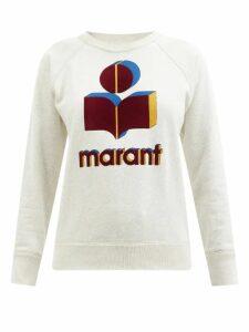Isabel Marant Étoile - Moby Flocked Logo Cotton Blend Sweatshirt - Womens - Black