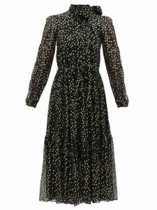 Versace - V Neck Silk Satin Bodysuit - Womens - Black