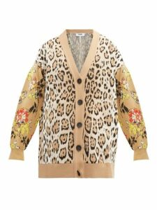 Msgm - Leopard And Floral-intarsia Cardigan - Womens - Beige