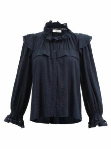 Msgm - Sweetheart Neck Cady Blouse - Womens - Black