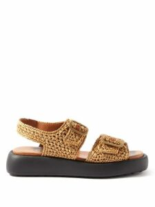 Msgm - Floral Jacquard Gathered Sleeve Blouse - Womens - Brown Multi
