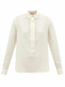 Bottega Veneta - Point-collar Silk-blend Charmeuse Shirt - Womens - Cream
