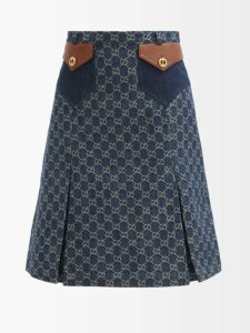 Prada - Platform Crocodile Effect Leather Sandals - Womens - Dark Brown